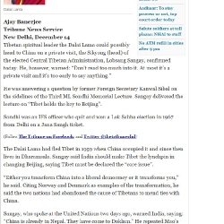"རྒྱ་གར་གསར་ཁང་""The Tribune"" ཞེས་པ་ནས་ཁྱབ་སྤེལ་བྱས་པ་ལྟར། ༧གོང་ས་མཆོག་རྒྱ་ནག་ཐུགས་འཕྲད་དུ་བསྐྱོད་རྒྱུའི་འཆར་གཞི་བཀོད་བཞིན་འདུག །"