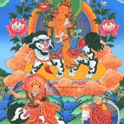 Lama Tsongkhapa Riding on a Snowlion