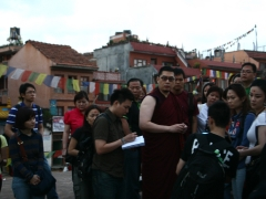 In this photo, we are standing within the compound of the Boudhanath Stupa, the largest stupa in Nepal!