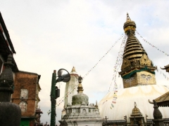 The famous gilded Swayambhunath Stupa, one of the holiest sites in Nepal.