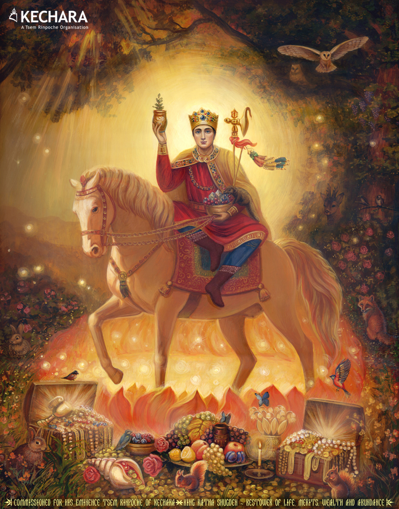 A unique Ukrainian painting of Gyenze (Ratna Shugden) who is the increasing form of Dorje Shugden. Click on image to enlarge.