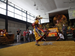 Dorje Shugden performs a special Vajra dance to clear obstacles. 多杰雄登跳起金刚舞除障。 (https://www.tsemrinpoche.com/?p=68740)