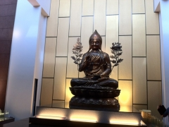 12ft Tsongkapa on the new Kechara gompa altar !!!