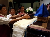 3 devoted dharma brothers making robes offerings to Tsem Rinpoche's throne.  - 17/8/16 - Jill Yam