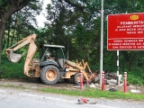 One of the backhoes on loan for the Gotong Royong - for the heavier wastes found along the roadside.