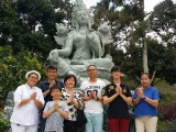 Group picture in front of Mother Tara. Tara is said to have emanated from the tears of Avalokiteshvara.