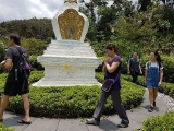 Visitors in Kechara Forest Retreat, circumambulating the holy Vajra Yogini Stupa. Picture credit Pastor Gimlee