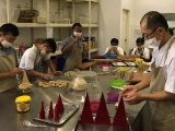 Gyabshi Torma making in Wisdom Hall for Puja.