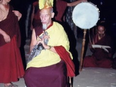 His Holiness Kyabje Zong Rinpoche engaged in tantric prayers