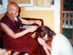 Kyabje Zong Rinpoche's divination indicated that I have powerful karma to be a successful actor but if I became a monk, I would benefit many people...hearing that I knew what my answer was. I promised Rinpoche to become a monk. In this photo Zong Rinpoche cuts my hair in an auspicious ceremony, symbolic of my promise to be a monk.