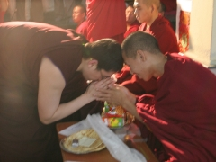 I pay my respects to Tsenshab Serkong Rinpoche, one of the highest Tulkus of Gaden monastery