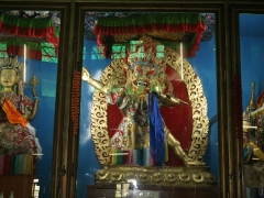 Wrathful Vajrapani stares into the prayer hall striking fear in the hearts of the demons