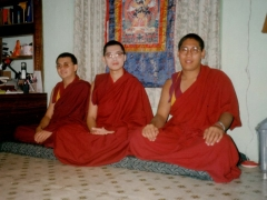 Ven Kangyur Rinpoche of Drepung and Ven Za Choeje Rinpoche of Drepung came to my house in Gaden to visit me. The three of us are sitting in my bedroom when this picture was taken.