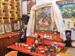 This is the sacred altar of Pelden Hlamo in Rashi Gempil Ling Temple in Howell, New Jersey. Even after 30 years, they kept it exactly the same..wow.  I sat in front of this altar for hundreds of hours as a child and recite Pelden Hlamo's mantra and stare at Her. I was enthralled and mesmerized by this Female Protector.