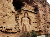 Gorgeous Buddha carved into the mountain in China