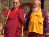 His Eminence Mahasiddha Gangchen Rinpoche and the official oracle of Dorje Shugden Panglung Kuten Choji lah in Italy together September 2016