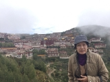 Our very own Kecharian Mdm Chua standing in front of holy Gaden Monastery, Tibet 2016