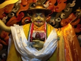 Large Dorje Shugden statue built by the 5th Dalai Lama and housed in Trode Khangsar. Sock Wand and Mdm Chuah took this picture in Lhasa, Tibet 2016