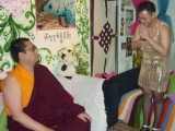 His Eminence Tsem Rinpoche is a good sport watching his students do Halloween drag costumes for a charity show. Funny!