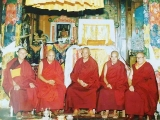 Great Masters of Gaden Shartse Monastery. From left to right: His Eminence Kensur Jampa Yeshe Rinpoche, His Holiness Sharpa Choeje Jetsun Lobsang Nyima, H.E. Kyabje Zemey Rinpoche, H.E. Kyabje Lati Rinpoche, His Holiness 101st Gaden Tripa throne holder Jetsun Lungrik Namgyal.