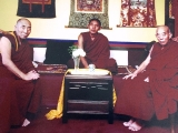 This is a powerful picture of Geshe Tsultrim Gyeltsen, Kensur Kyabje Lati Rinpoche and the current incarnation of Trijang Rinpoche meeting together in the year 2000 when Trijang Rinpoche was 18. All three lamas are Dorje Shugden practitioners. In fact Geshe Tsultrim Gyeltsen was the one that first encouraged my practice of Dorje Shugden when I was 16 years old when I joined his beautiful Thubten Dhargye Ling centre in Los Angeles. I lived with Geshe Tsultrim Gyeltsen for 8 years before proceeding to Gaden Monastery in South India. Later Kyabje Zong Rinpoche came to our Los Angeles centre and granted sogtae (permission ceremony) to practice Dorje Shugden for life as requested by Geshe Tsultrim Gyeltsen. Geshe Tsultrim Gyeltsen had tremendous faith in Trijang Rinpoche. 
