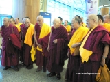 (1st photo) Kyabje Lati Rinpoche in the centre and Ven Kensur Rinpoche Lobsang Phende on the extreme right. After the unfair ban against Dorje Shugden practitioners was forcibly instituted by Tibetan leadership onto the people and monasteries, the monasteries split. Over 600 monks from Gaden Shartse Monastery left and set up Shar Gaden Monastery. The Tibetan leadership did their best to get the authorities to close Shar Gaden Monastery but Shar Gaden had registered so there was nothing Tibetan leadership can do. It was very sad. Kensur Rinpoche Lobsang Phende left Gaden Shartse Monastery to be the abbot of the newly formed Shar Gaden Monastery in South India where they can continue Dorje Shugden practice. Prior to the ban Lati Rinpoche and Kensur Rinpoche Lobsang Phende can meet up, share and be close as they all had been very close. After the ban this was not allowed anymore. Dorje Shugden and non-Dorje Shugden people had to be segregated. They cannot mix. The previous prime minister of the Tibetan exiled government said that Dorje Shugden people and non Dorje Shugden people are like the mustache and the mouth and it has to be separated. Tsem Rinpoche