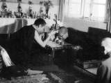 Here, His Holiness Kyabje Trijang Rinpoche (left), one of the tutors of His Holiness the Dalai Lama, confers one of the many countless tantric initiations on the Dalai Lama (right). You can see a young Dalai Lama bowing in this picture with Trijang Rinpoche blessing him. Trijang Rinpoche is therefore undoubtedly the Dalai Lama's tantric master. A great master at that. Tsem Rinpoche