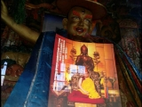 In Tibet Shannan area Riwoche Ling Monastery, devotees are putting Tsem Rinpoche\'s photo inside the cabinet together with the Buddha he loves - Dorje Shugden