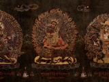 Stunning \'nathang\' thangka of Ekazati, Dorje Drolod and Dorje Shugden together.