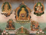 Another beautiful and ancient thangka of Guru Rinpoche and Dorje Shugden!