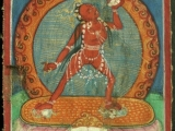 Sacred old Vajra Yogini small hand painting called a \'tsakaley\'.