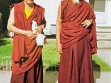 Left is His Eminence Kensur Rinpoche Jetsun Lobsang Tharchin lak of Sera Mey Monastery. He was residing in our Rashi Gempil Ling Kalmuck temple in Howell, New Jersey since 1971. I arrived in Howell in 1972 and had the fortune to take refuge with this master and receive innumerable teachings for 8 years. I lived 10 minutes away due to my good fortune. He is my first teacher. He is a direct student of H.H. Kyabje Pabongka Rinpoche Dechen Nyingpo the Great as well as Their Holinesses Kyabje Trijang Rinpoche and Kyabje Zong Rinpoche.  Right. Is His Holiness Kyabje Zong Rinpoche visiting this temple in New Jersey. It was at this time His Holiness Kyabje Zong Rinpoche conferred the Dorje Shugden sogtae (\'initiation\') on Kensur Rinpoche Jetsun Lobsang Tharchin along with two other students.~Tsem Rinpoche