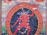A very rare lineage of the Severed-Head Vajra Yogini thangka. She has severed her head and holding it in her own skull cup. Top left is Indra Kacho Vajra Varahi, centre is Flying Vajra Yogini and top right is Maitri Kacho Vajra Yogini.~Tsem Rinpoche
