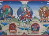 Sacred Guru Rinpoche thangka w/ Mother Green Tara on his left & World Peace Protector Dorje Shugden on his right- 