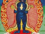 Wrathful Dakini Ucchusma-In the form of wrathful dakini, Ucchusma has 3 eyes; with both hands holding a vase with nectar at her heart level, her hair loose, and no ornaments. She wears a garment of black silk, with two legs, feet together, standing on a lotus and sun disc. This deity functions to remove negative energy and pollutions from body, speech and mind. The practice was conferred by a Dakini to Drupangsa. -Mantra: Om ar-kham zir-kam bu-ma-na-se ou-cus-ha-ma ma-ha tro-da hung phet