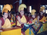 Left to right: Tritul Rinpoche, Gaden Tripa Rinpoche, Zong Rinpoche and Tsem Rinpoche in Gaden Shartse Monastic prayer hall during puja.