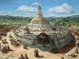 Very nice old artwork on the Bodha Stupa in Nepal.