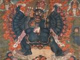 Beautiful thangka painting of Lord Yamantaka the slayer of ignorance and who bestows supreme wisdom that eradicates all projections.