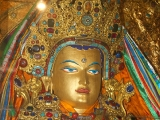 Beautiful replica Jowo Rinpoche statue in the Jonangpa Monastery in Tibet.