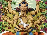 Unusual depiction of Lord Manjushri. I like it.