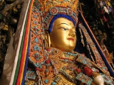 This is a statue of Lord Buddha Shakyamuni (Jowo Rinpoche) in Lhasa, Tibet. Tsongkapa had offered the crown, \'shirt\' and ornaments on this sacred Buddha. Offering ornaments on Buddha is considered highly meritorious. Many Buddhist countries have this tradition.