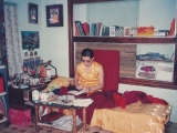 Back in the 90\'s this photo of Tsem Rinpoche was taken in Tsem Ladrang, Gaden Shartse Monastery in South India. Tsem Rinpoche was in his room writing letters for Gaden Shartse Monastery and their sponsors around the world. Tsem Rinpoche had raised much sponsorship for the monks and Gaden Shartse Monastery. Read more- https://bit.ly/2NfHJjQ
