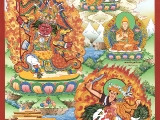Beautiful painting of Nechung Dorje Drakden & Dorje Shugden together. Masterpiece. More free downloads: https://bit.ly/2oxb4qU