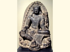 Manjusri Kumara (bodhisattva of wisdom), India, Pala dynesty, 9th century, stone, Honolulu Academy of Arts