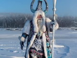 Mongolian (Oymiakon) Shaman in Siberia, Russia. That is his real outfit he wears. Very unique. TR