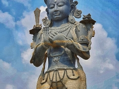 First picture-Standing Manjushri Statue at Chowar, Kirtipur, Nepal.