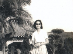 My birth mother in Taiwan. She looks very happy and relaxed here. My mother met my birth father in Taiwan, and started a relationship with him, without knowing he already had a wife and children back in Tibet.