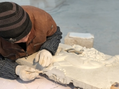 Creating the plaster mould of the 15ft Tulku Drakpa Gyaltsen stupa
