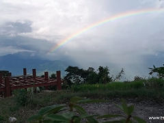 A large rainbow appeared above Tsem Ladrang in Nepal. Many other auspicious signs were seen in the skies during the Fire Offering Ceremony.
