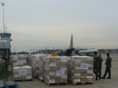 Thousands of tons of food, medicines and other disaster relief items being loaded onto Royal Malaysian Airforce aircrafts to be delivered to East Coast of Malaysia flood victims. DR.